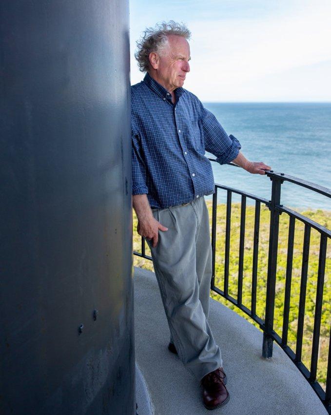 Rob Benchley on the balcony of Sankaty Light.