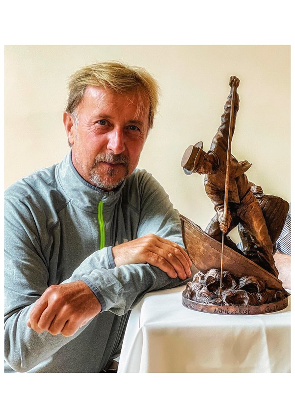 English artist Paul Day with a maquette of the statue proposed to honor the twinnng of the towns of Nantucket and Beaune in Burgundy, France.