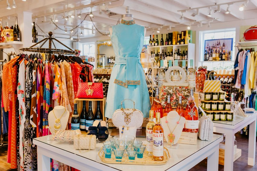 Inside Current Vintage, Beth English's wine and vintage clothing store.