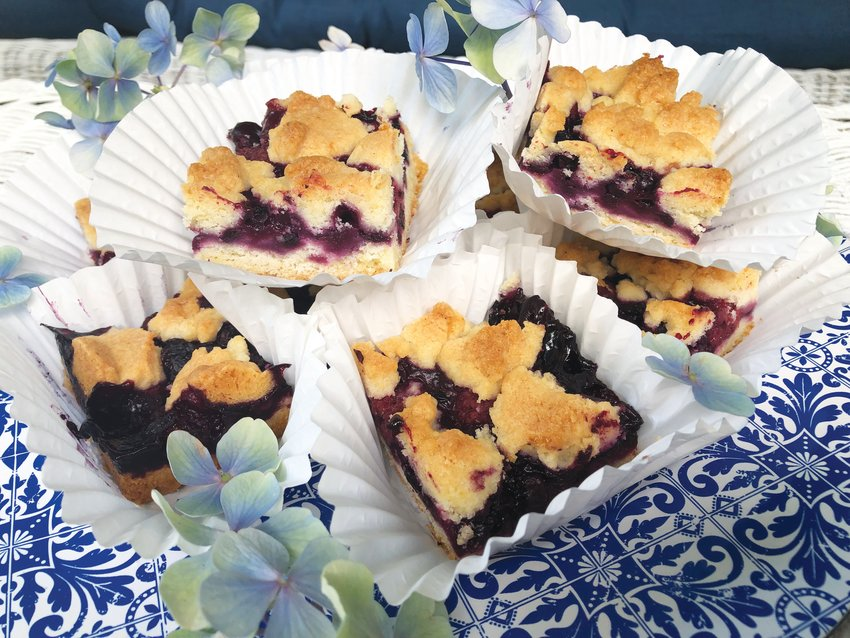 Blueberry Crumb bars are best made with wild Maine berries, which are far more flavorful than commercially-grown varieties.