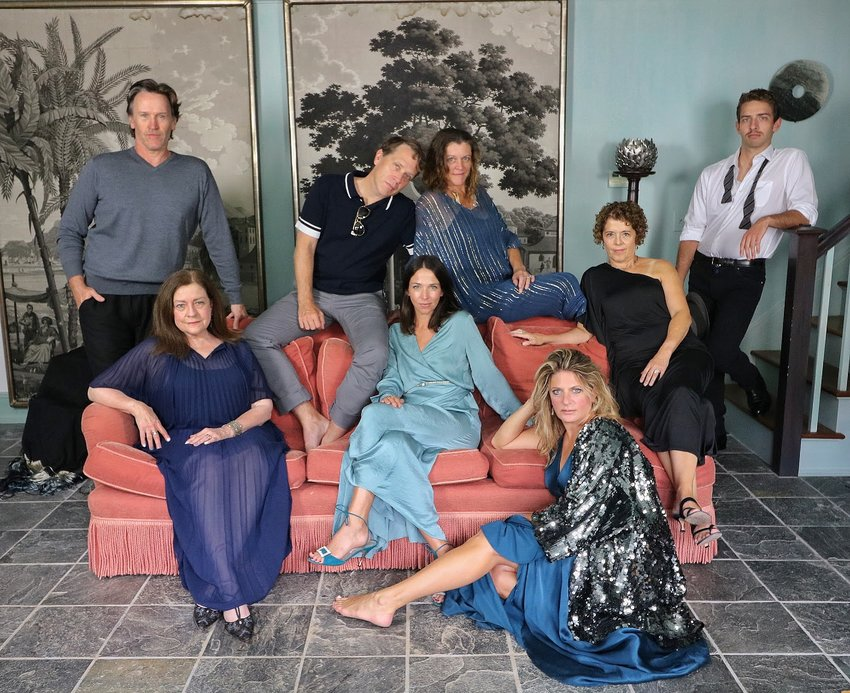 """The cast of Theatre Workshop of Nantucket's """"London Suite,"""" from left, Tim Booth, Cynthia Csabay, Jeremy Webb, Casey Boukus, Mary Seidel, Sarah Fraunfelder, Susan Lucier and James Lindberg."""