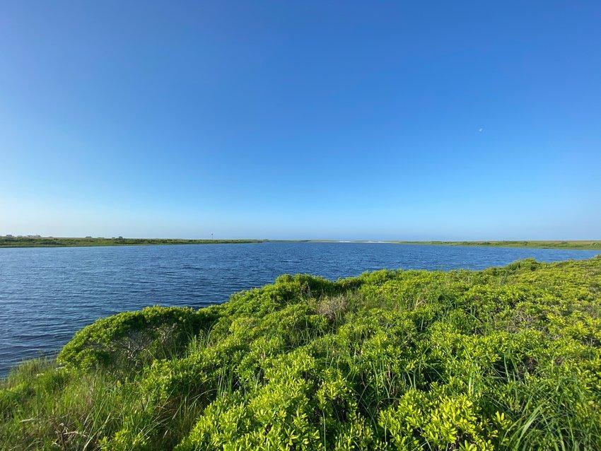 Halfway down Clark Cove in sight of the ocean.