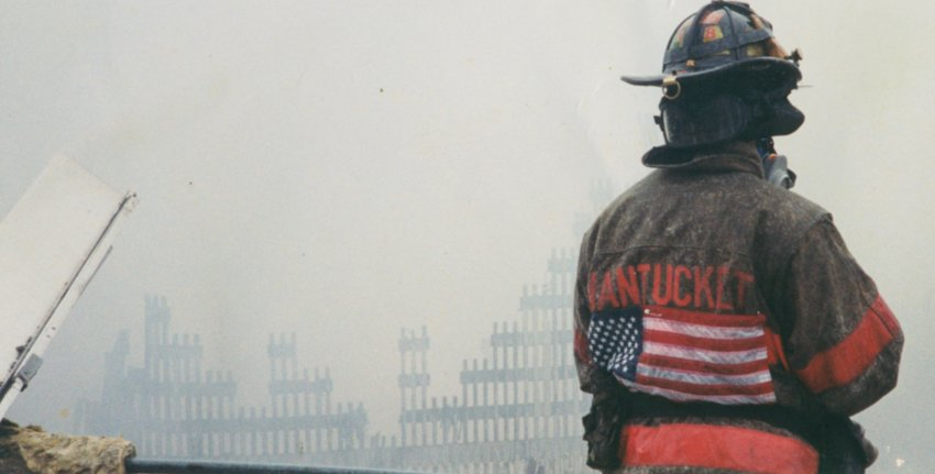 Nantucket firefighter Shawn Monaco at ground zero days after the Sept. 11, 2001 terrorist attack on the World Trade Center.