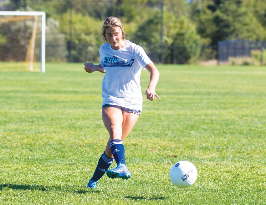 Claire Misurelli during girls soccer practice Tuesday.