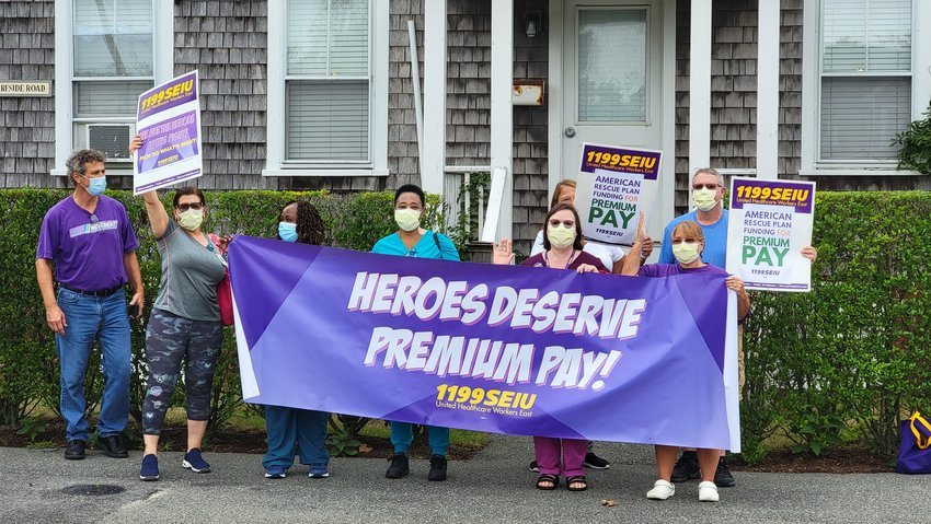 Nantucket Cottage Hospital workers rally Friday for pandemic pay.