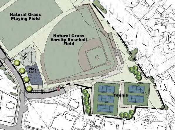 The Nantucket school system is hoping to build a new baseball field and tennis courts on Backus Lane as part of a larger sports facilities plan that includes new turf fields and a running track.