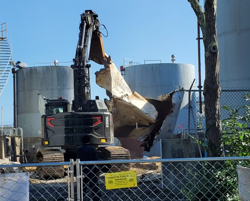Removal of Nantucket's downtown tank farm is well underway.