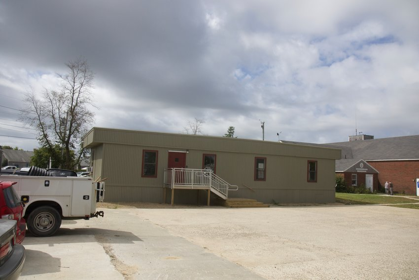 The Historic District Commission has denied a town request to keep this modular trailer on the former fire-station property at the Sparks Avenue rotary.