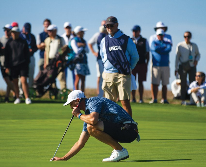 Cody Paladino lines up a putt on the 10th hole at Sankaty Head Golf Club Monday in the 40th U.S. Golf Association Mid-Amateur Championship.