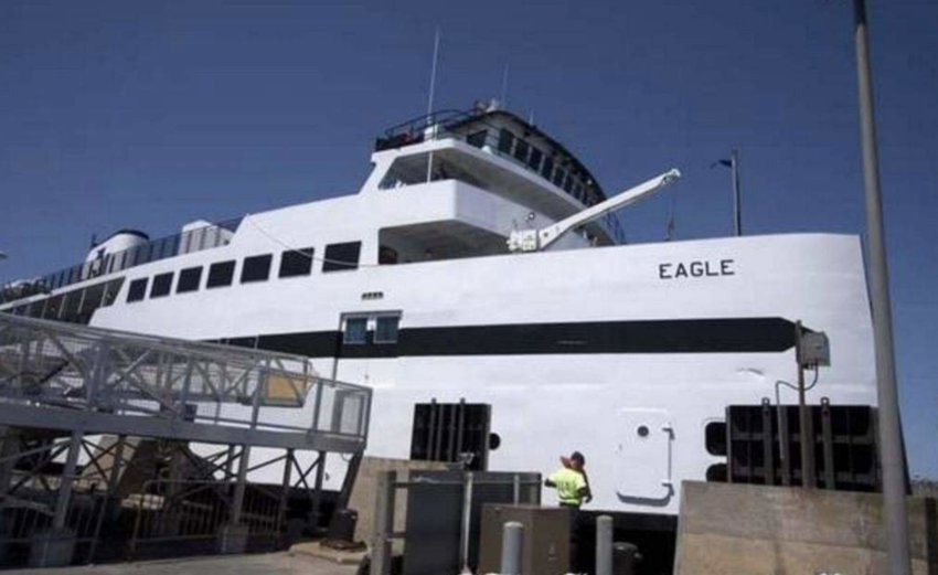 The Steamship Authority's M/V Eagle at the dock on Nantucket.