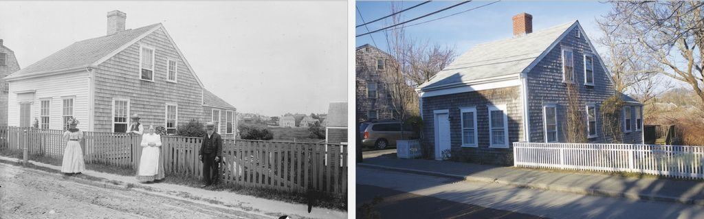 Side by side photos of the North Liberty Street home developer Jeff Kaschuluk hopes to move six feet from its current location in order to put another house on the property. The image on the right is from the 1890s, the left this week.