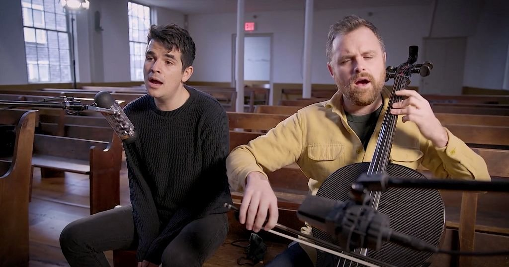 Ned Riseley (left) and Ethan Philbrick perform a virtual concert organized by the Dreamland Theater at the Quaker Meeting House.