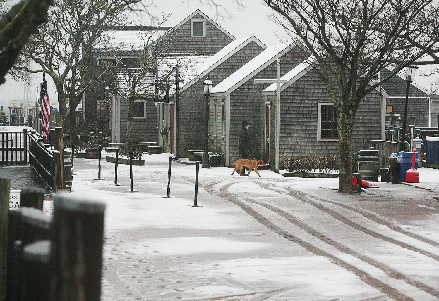 WINTER SCENES -- February 7, 2021 -- Mark Dewire walks his dog, Magda, along Straight Wharf during Sunday's snow storm. Photo by Ray K. Saunders