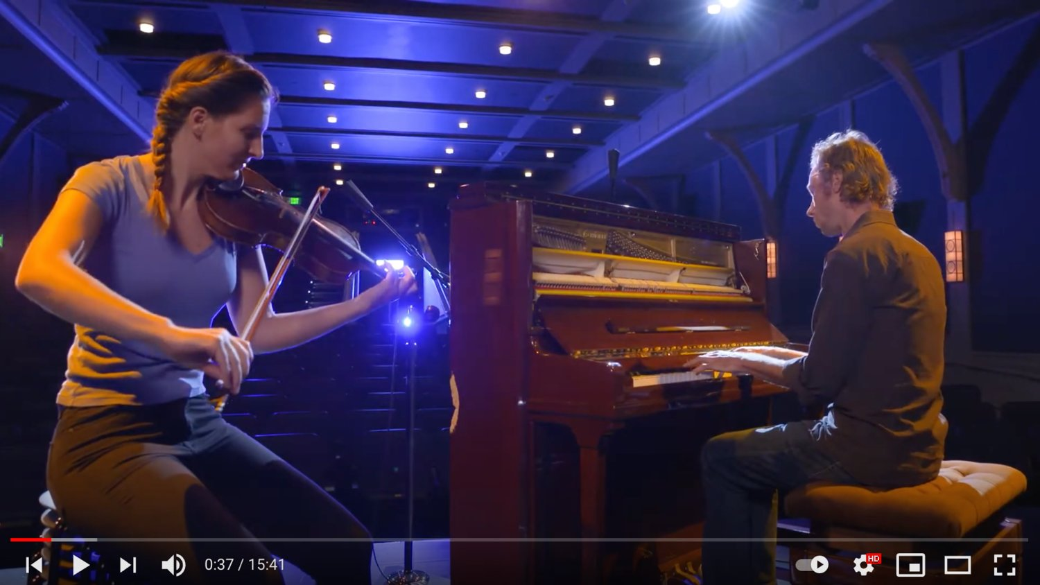 Fiddle player Greame Durovich and pianist Nigel Goss play a selection of traditional Irish songs in the Dreamland Theater's live online concert series