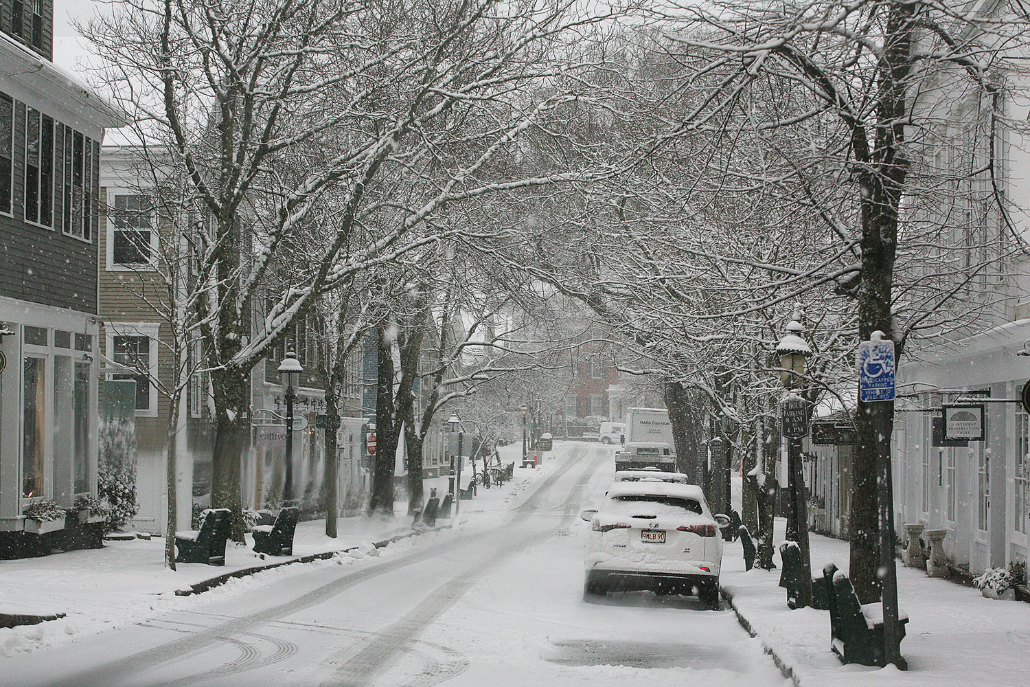 Centre Street during Thursday's snow.