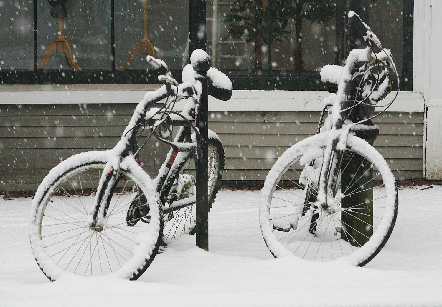 Bicycles on Main Street during Thursday's snow.