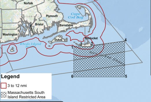 This map details the area south of Nantucket where new lobstering regulations are being proposed to protect right whales.