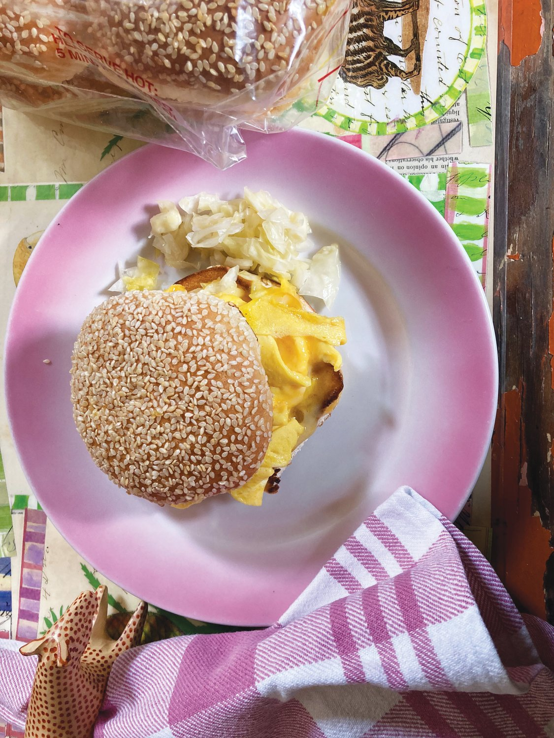 Kitty's Breakfast Sandwich as recreated by the author.
