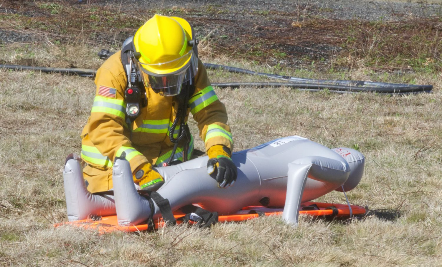A Nantucket firefighter during an airport emergency response drill Monday.