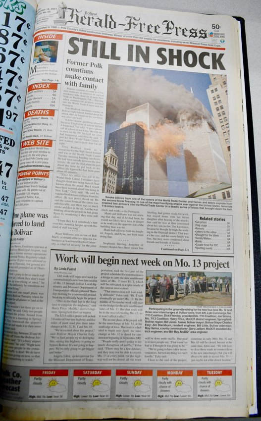 The front page of the Friday, Sept. 14, 2001, issue of the BH-FP.