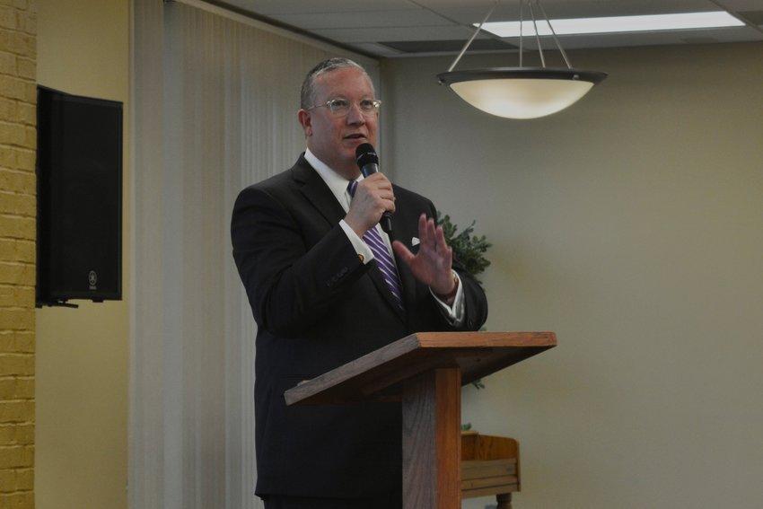 Southwest Baptist University's 26th president, Richard Melson, addresses the crowd of community members at September's president's breakfast.