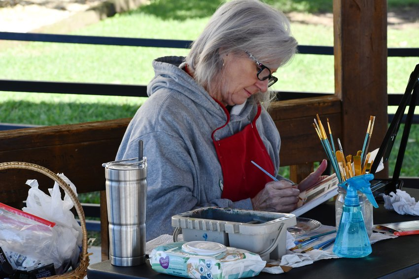 Sandy Divin has a prime spot in the square's gazebo as she paints the Hair, Heart and Soul Salon on South Springfield Avenue.