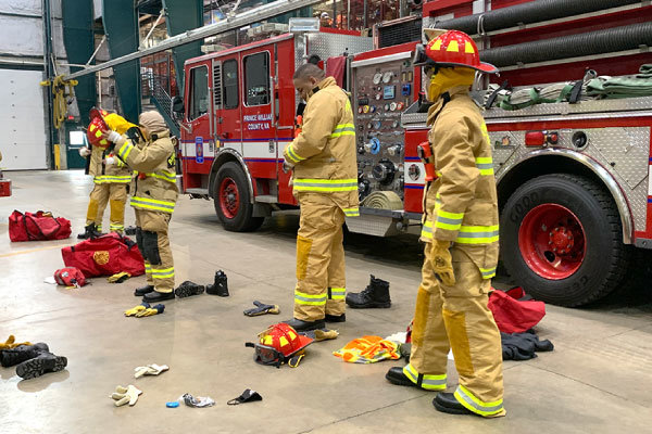 PWCS students training in the Firefighters program