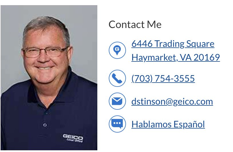 Your local GEICO agent, Dave Stintson & contact info