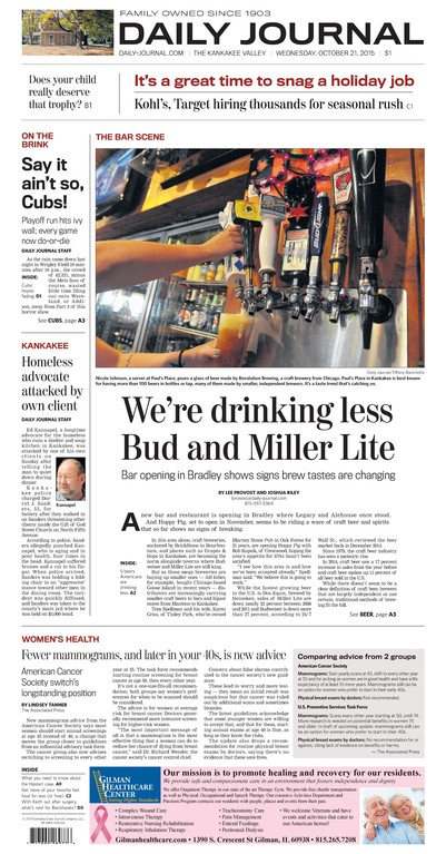 Page One after: Refers in the nameplate area are larger and written to attract attention, especially at newstands. Relocating the index to the bottom corner of the page (and reducing its size) made room on the front for more stories, on a wider range topics. Headlines are written, whenever possible, to speak directly to the reader.