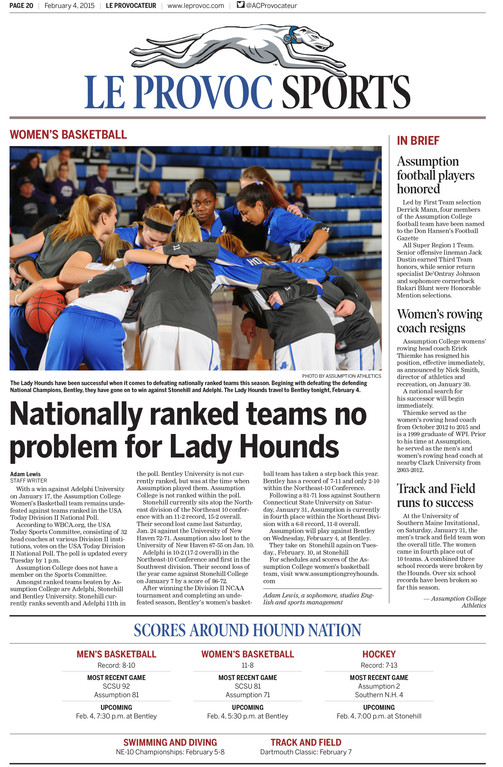 Sports front, after: A major change was rebranding this section as Hound Nation. The school's mascot sits atop the page, with room for a main story, a column of briefs and a scorebox beneath. The school's sports department, which had been underutilized, is happy to provide pictures and game content to the paper.