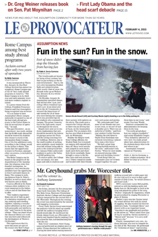 Front page after: A simpler and more dramatic nameplate along with fewer, bigger teases makes the top of the page more inviting. Changes to the page grid, body copy and headline fonts and training in layout techniques make for a much more engaging redesigned paper.