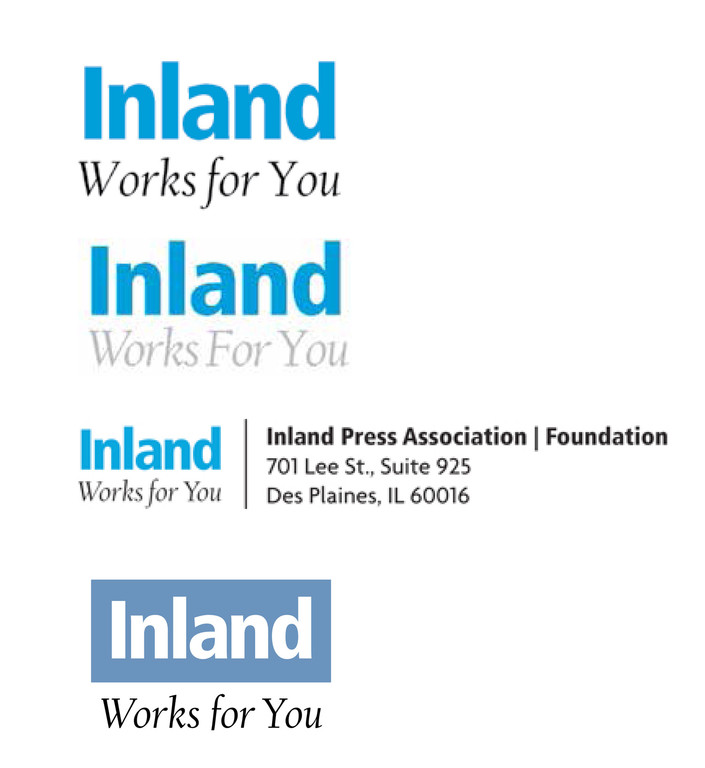 Before: The visual identity and tagline gave no indication that the organization is a press association. The client wanted more active and engaging words in the tagline. For no apparent reason, different shades of blue were used in different versions of the branding.