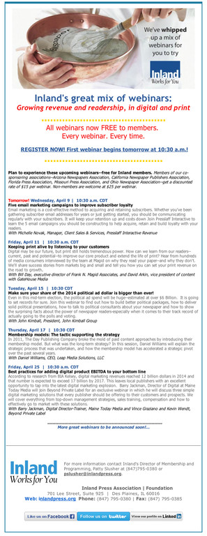 Before: Inland primary method of communicating with its members about the training webinars and conferences it provides is via email blasts. These emails were too long, and used confusing (and off-point) visuals and a chaotic mix of typography.