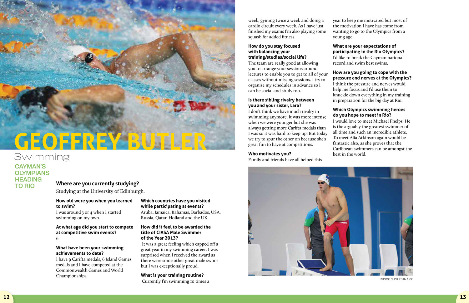 One spread of the magazine was devoted to each athlete, with a Q&A and several pictures of that athlete competing in their sport.