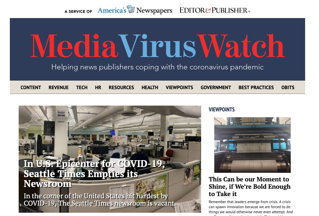 Media Virus Watch covers newsgathering and safety practices, coronavirus data, reporting and presentation innovations, customer service issues and resources for news publishers.