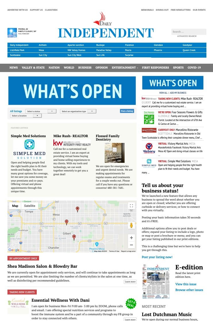 What's Open is a self-service web app that small businesses can use to spread the word about their status during an emergency such as the Covid-19 pandemic.