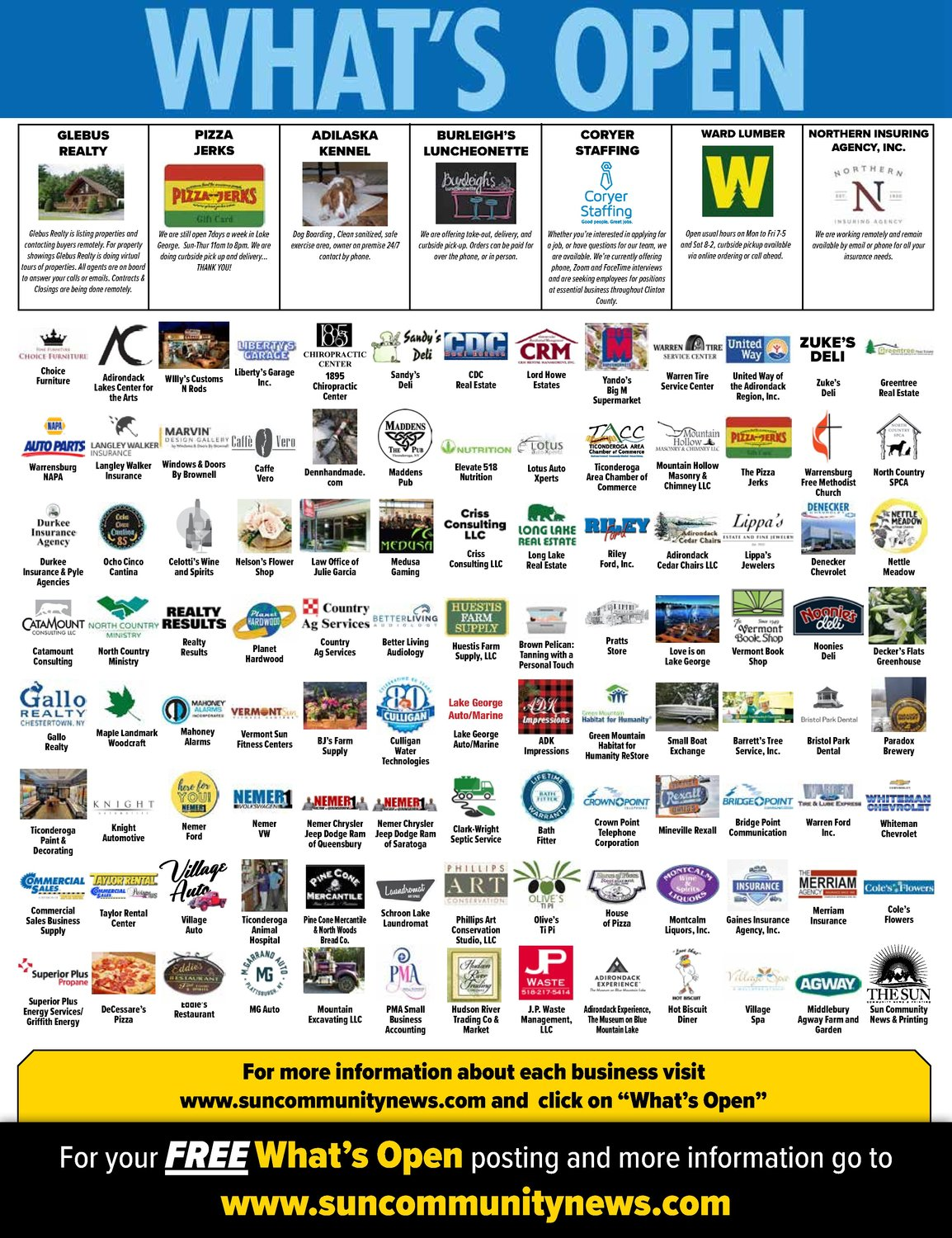 Sun Community Newspapers in Elizabethtown, N.Y., ran the logo of every company that posted to What's Open to promote the app to both readers and businesses.