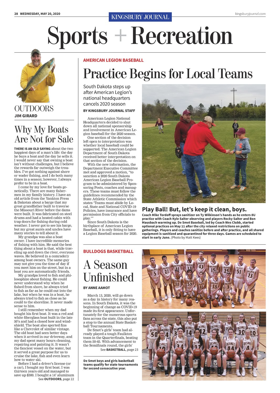 The back page features sports and recreation.