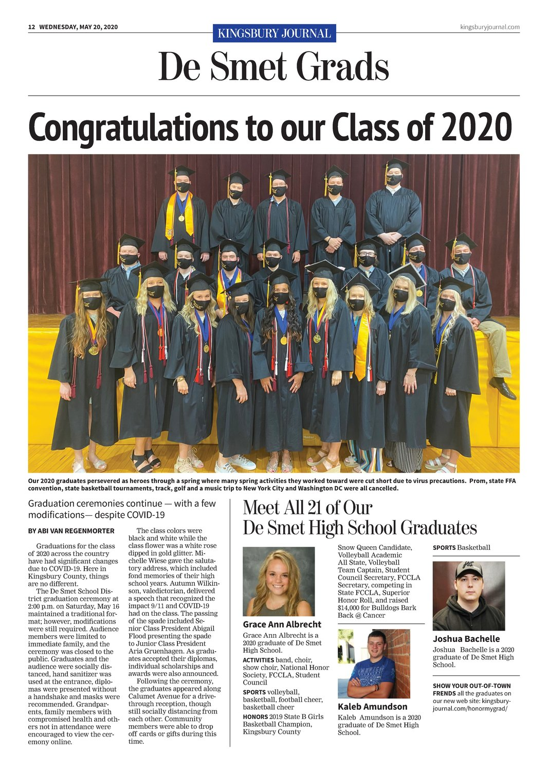 Graduation 2020 was a focal point of the first issue.