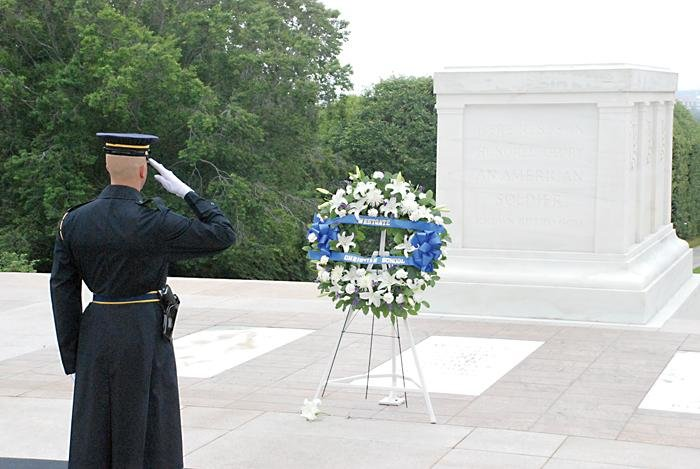 Emily Hoffman/Headliner NewsWell deserved: A soldier salutes the Tomb of the Unknowns at Arlington National Cemetery, one of Nutt's favorite stops on the trip.
