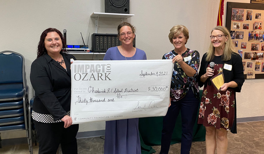 THE CHADWICK SCHOOL DISTRICT won a $30,000 grant from Impact 100 Ozark. Pictured, from left, Jessica Martin, Chadwick Special Education Teacher Jacklyn Aldrich, Impact 100 members Debi Achor and Sarah Adams Orr.