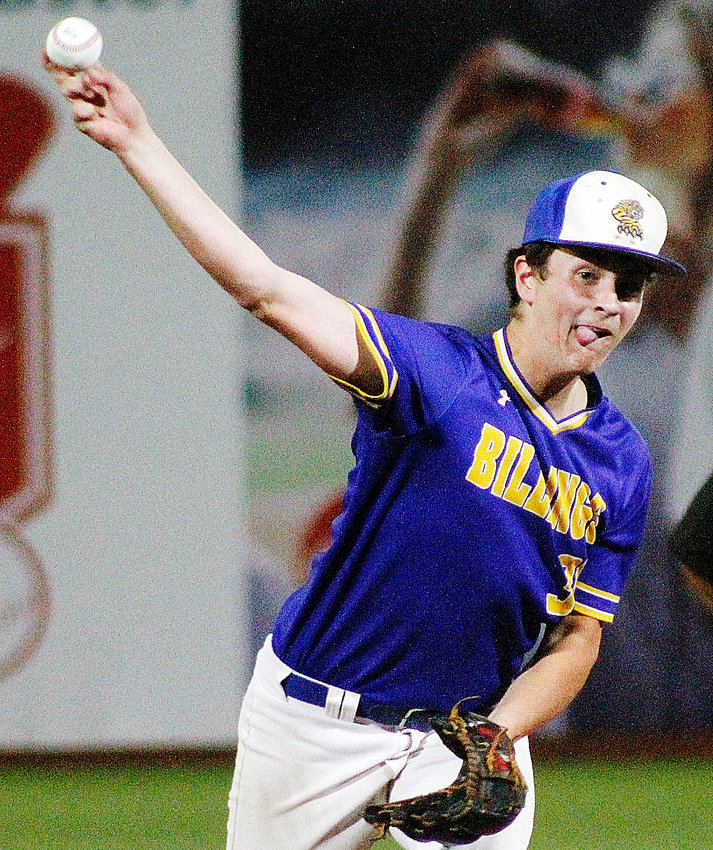 BILLINGS' NOAH WOODY delivers a pitch home against Galena at U.S. Baseball Park on Tuesday.