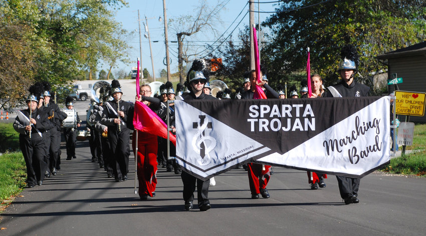 THE SPARTA HIGH SCHOOL MARCHING BAND performed in the 2021 Sparta Persimmon Days parade. The Mighty Trojan band restarted its marching program in 2018, and has enjoyed great success in parades and marching contests since.