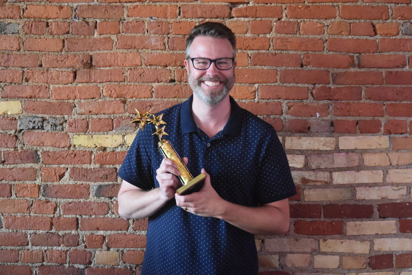 "Chad DeKatch won Best Supporting Actor in a Musical for his performance in Owosso Community Player's ""Mamma Mia!"""