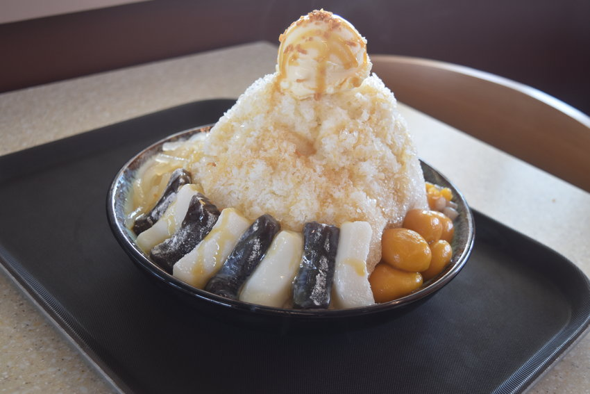 Q Mochi Shaved Ice dessert with sweet potato tarot balls, jelly noodles and ice cream topping.