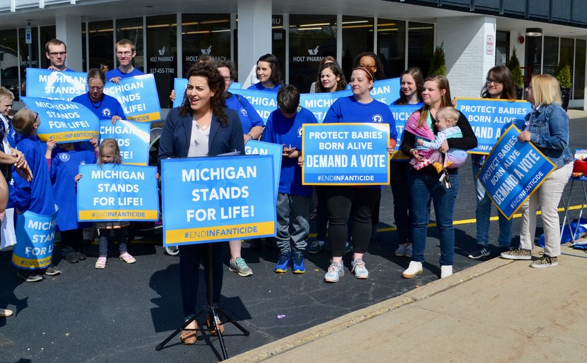 A pro-life rally gathered outside Congresswoman Elissa Slotkin's Lansing office on Thursday.