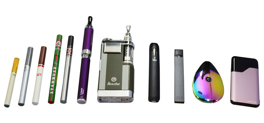 A variety of common vapes/e-cigarettes.