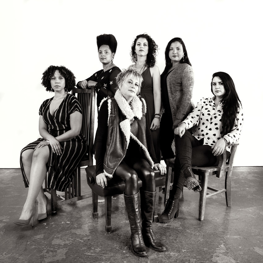 Toronto saxophonist Jane Bunnett brings Maqueque, an ensemble of young Cuban and African musicians. Left to right: Joanna Tendai Majoko, Yissy Garcia, Jane Bunnett, Tailin Marrero Zamora, Dánae Olano, MaryPaz Fernandez.