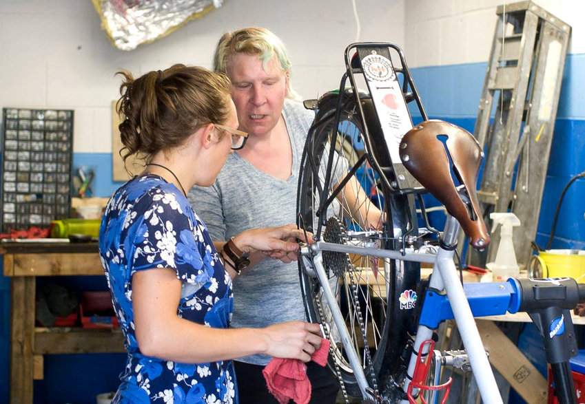 Repair classes are a regular feature of the Lansing Bike Co-op.