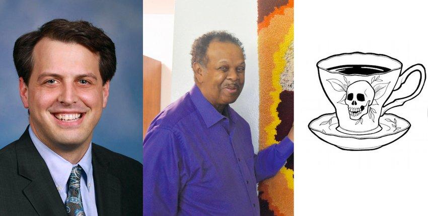 (Left) Sen. Jeff Irwin, J.J. Jackson, Death Café logo.